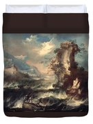 Italian Seascape With Rocks And Figures Duvet Cover