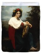 Italian Woman With A Tambourine Duvet Cover by William Adolphe Bouguereau
