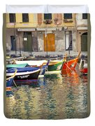 Italy Portofino Colorful Boats Of Portofino Duvet Cover