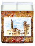 Italy Sketches Florence Towers Duvet Cover