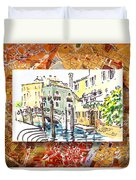 Italy Sketches Venice Canale Duvet Cover