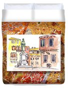 Italy Sketches Venice Piazza Duvet Cover