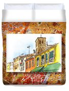 Italy Sketches Venice Via Nuova Duvet Cover