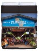 Ithaca Farmer's Market Duvet Cover