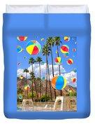 Its Raining Beach Balls Palm Springs Duvet Cover
