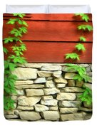 Ivy On Stone And Wood Duvet Cover