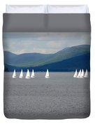 J Boats Lake George N Y Duvet Cover