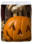 Jack-o-lantern And Indian Corn  Duvet Cover