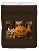 Jack-o-lantern And Indian Corn  Duvet Cover