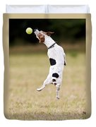 Jack Russell Jumping For Ball Duvet Cover