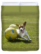 Jack Russell Terrier Plays With Ball Duvet Cover by Johan De Meester