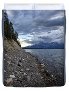Jackson Lake Shore With Grand Tetons Duvet Cover
