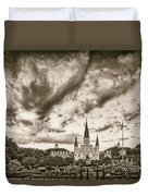 Jackson Square And St. Louis Cathedral In Black And White - New Orleans Louisiana Duvet Cover