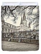Jackson Square Winter Sepia Duvet Cover
