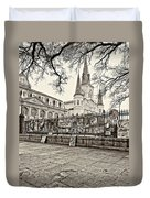 Jackson Square Winter Sepia Duvet Cover