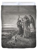 Jacob Wrestling With The Angel Duvet Cover by Gustave Dore
