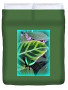 Jade Butterfly With Vignette Duvet Cover