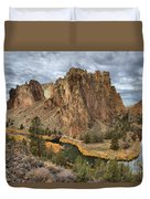 Jagged Peaks And River Reflections Duvet Cover