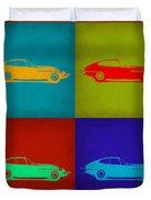 Jaguar E Type Pop Art 1 Duvet Cover by Naxart Studio