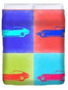 Jaguar E Type Pop Art 2 Duvet Cover by Naxart Studio