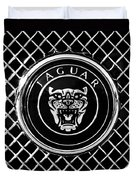 Jaguar Grille Emblem -0317bw Duvet Cover