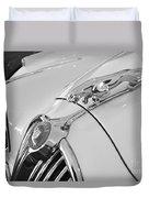 Jaguar Hood Ornament In Black And White Duvet Cover