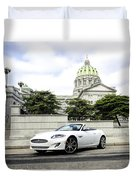 Jaguar Xk And The Capitol Building Duvet Cover