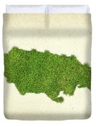 Jamaica Grass Map Duvet Cover by Aged Pixel