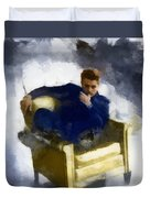 James Dean In Yellow Leather Chair Duvet Cover
