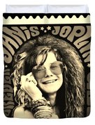 Janis Stamp In A Sepia Vibe Duvet Cover