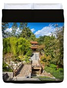 Japan In Pasadena - Beautiful View Of The Newly Renovated Japanese Garden In The Huntington Library. Duvet Cover