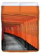 Japan, Red Columns Along Pathway Kyoto Duvet Cover