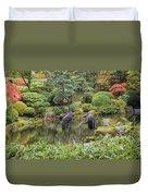 Japanese Bronze Cranes Sculpture By Pond Duvet Cover