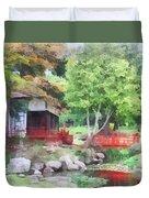 Japanese Garden With Red Bridge Duvet Cover