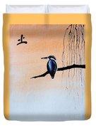Japanese Kawasemi Kingfisher Feng Shui Earth Duvet Cover