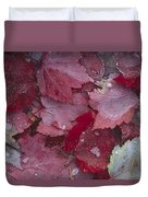 Japanese Maple Leaves With Frost Duvet Cover