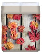 Japanese Maple Tree Leaves On Wood Deck Duvet Cover