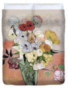 Japanese Vase With Roses And Anemones Duvet Cover