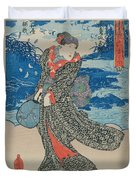 Japanese Woman By The Sea Duvet Cover by Utagawa Kunisada