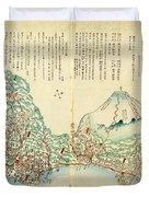 Japanese Wood Block Map Showing Mt Fuji 1830s Duvet Cover
