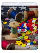 Jar Of Buttons And Spools Of Thread Duvet Cover by Garry Gay
