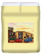 Java U Cafe Jean Talon Car Wash Coffee Shop Depanneur Montreal Art Sale Cspandau                     Duvet Cover