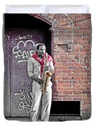 Jazz Man - Street Performer Duvet Cover