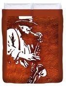 Jazz Saxofon Player Coffee Painting Duvet Cover
