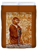Jedi Master Yoda Digital From Original Coffee Painting Duvet Cover