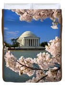 Jefferson Memorial Cherry Trees Duvet Cover