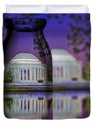 Jefferson Memorial In A Bottle Duvet Cover by Susan Candelario
