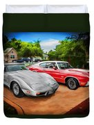 Jeffs Cars Corvette And 442 Olds Duvet Cover