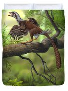 Jeholornis Prima Perched On A Tree Duvet Cover by Sergey Krasovskiy