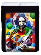 Jerry Garcia In Bubbles Duvet Cover